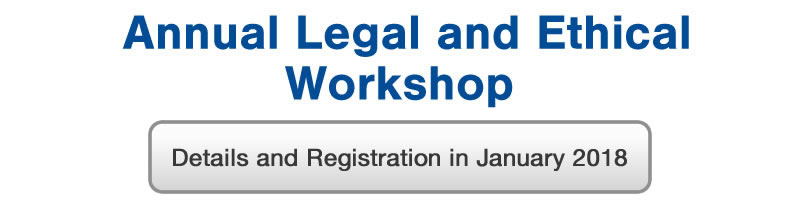 Annual Legal and Ethical Workshop, April 20th 2018