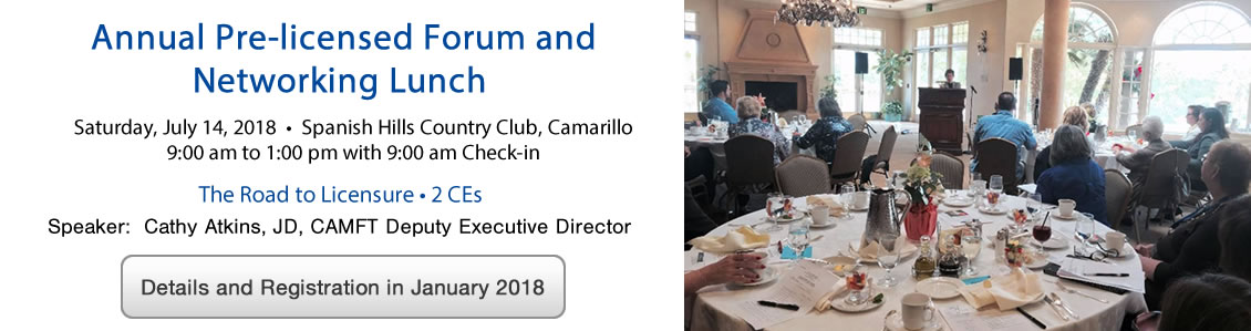 Annual Pre-licensed Forum and Networking Lunch, July 14th 2018